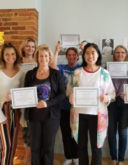 Six Reiki 1 students with certificates