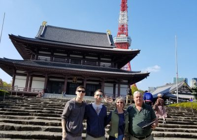 Kandi Austin with family near Tokyo Tower. You'll find so many amazing temples in every city. We had a lovely guide, who took us under her wings...Sumi.