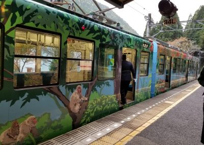 Train to Mount Kurama. A dedicated train, beautifully painted, to Mt. Kurama. We headed home at dusk. On our way back to our Kyoto dwelling, the train stopped and shone lights on the fabulous fall colors of the many trees that make this time of year so special.