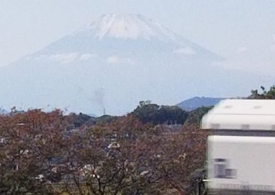 Mount Fuji seen from the Shinkansen train